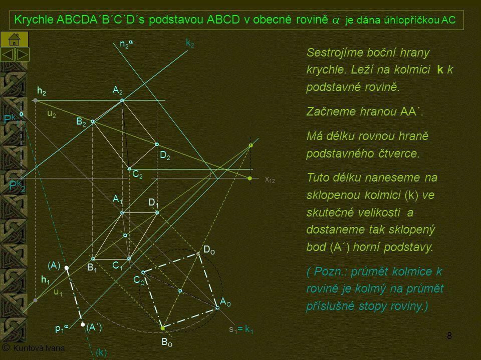 9 A1A1 p1p1 n2n2 x 12 (A) A2A2 AOAO s1= k1s1= k1 h2h2 h1h1 © Kuntová Ivana C1C1 Krychle ABCDA´B´C´D´s podstavou ABCD v obecné rovině  je dána úhlopříčkou AC C2C2 Sestrojíme boční hrany krychle, které leží na kolmici k k podstavné rovině.