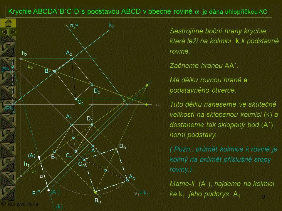 10 A1A1 p1p1 n2n2 x 12 (A) A2A2 AOAO s1= k1s1= k1 h2h2 h1h1 © Kuntová Ivana C1C1 Krychle ABCDA´B´C´D´s podstavou ABCD v obecné rovině  je dána úhlopříčkou AC C2C2 Půdorysy zbývajících hran sestrojíme rovnoběžně s půdorysem hrany AA´.