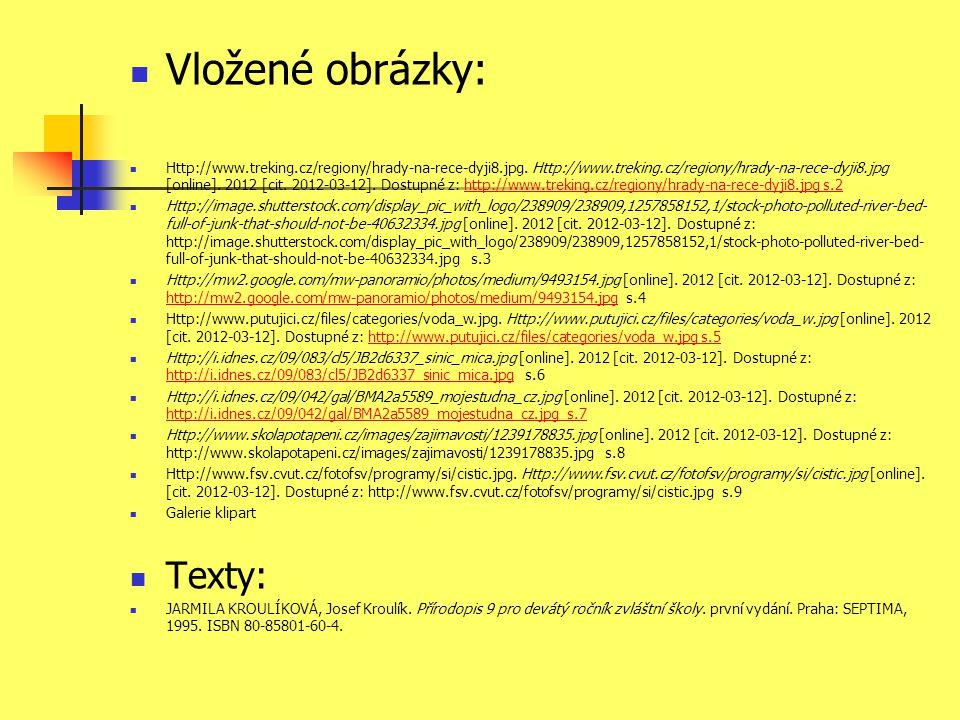  Vložené obrázky:  Http://www.treking.cz/regiony/hrady-na-rece-dyji8.jpg. Http://www.treking.cz/regiony/hrady-na-rece-dyji8.jpg [online]. 2012 [cit.