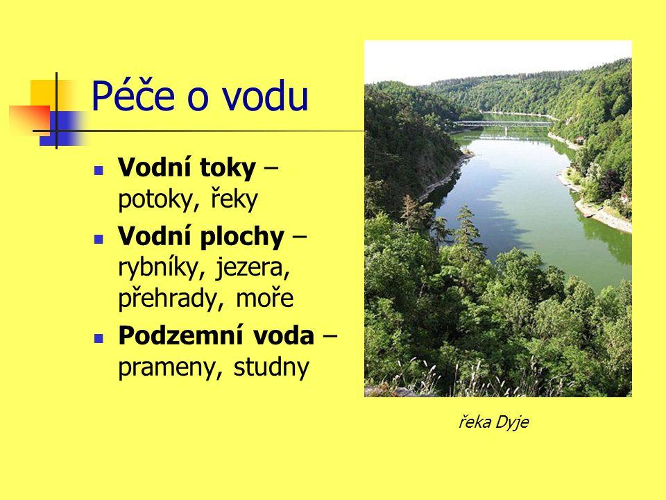 Péče o vodu  Vodní toky – potoky, řeky  Vodní plochy – rybníky, jezera, přehrady, moře  Podzemní voda – prameny, studny řeka Dyje