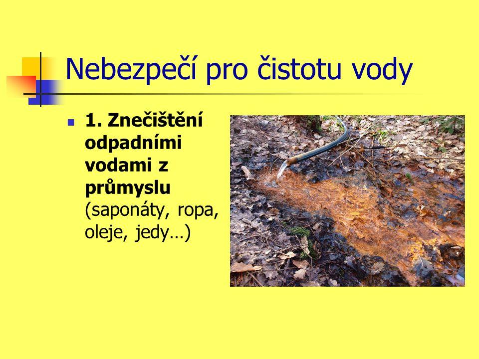 Nebezpečí pro čistotu vody  1. Znečištění odpadními vodami z průmyslu (saponáty, ropa, oleje, jedy…)