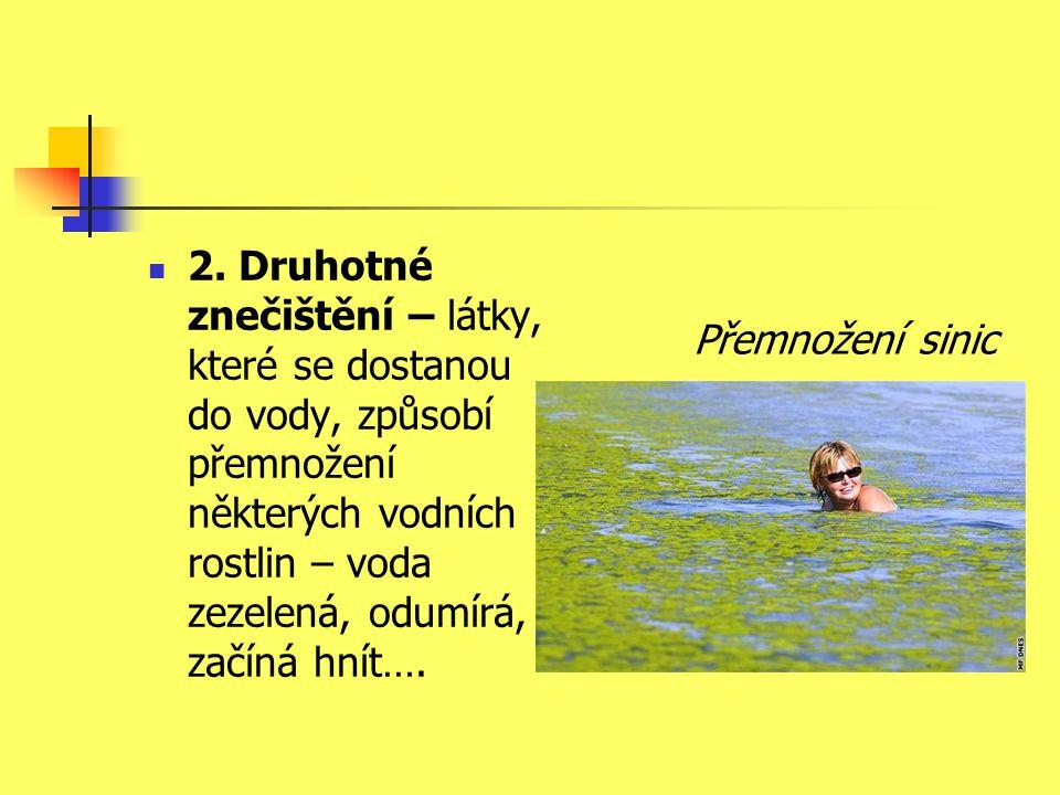  2. Druhotné znečištění – látky, které se dostanou do vody, způsobí přemnožení některých vodních rostlin – voda zezelená, odumírá, začíná hnít…. Přem