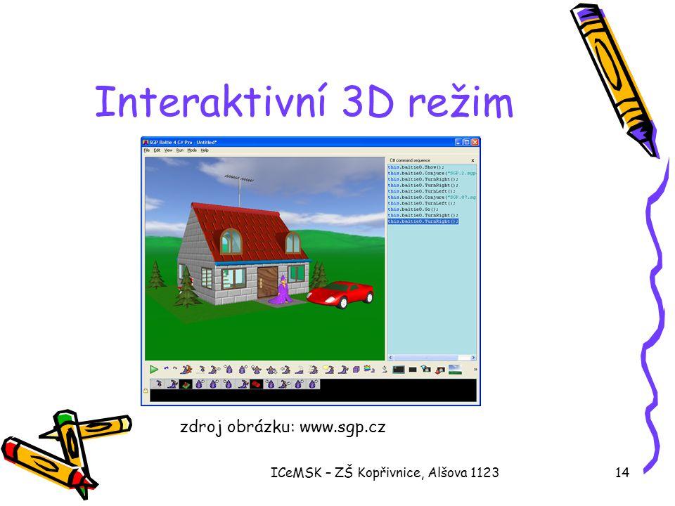 ICeMSK – ZŠ Kopřivnice, Alšova 112314 Interaktivní 3D režim zdroj obrázku: www.sgp.cz