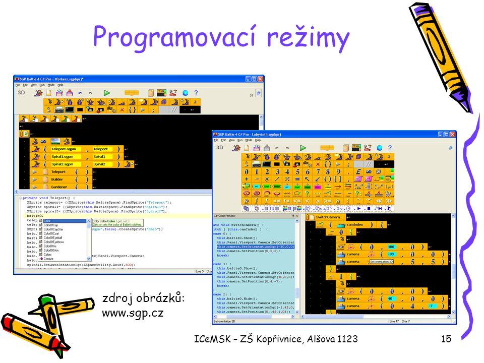 ICeMSK – ZŠ Kopřivnice, Alšova 112315 Programovací režimy zdroj obrázků: www.sgp.cz
