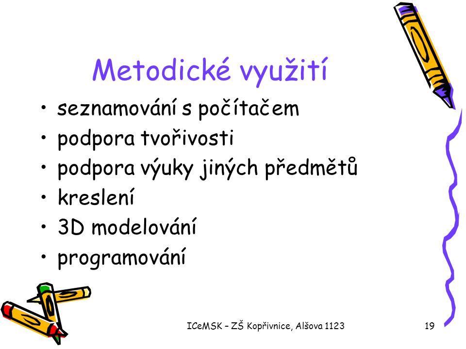 ICeMSK – ZŠ Kopřivnice, Alšova 112319 Metodické využití •seznamování s počítačem •podpora tvořivosti •podpora výuky jiných předmětů •kreslení •3D modelování •programování