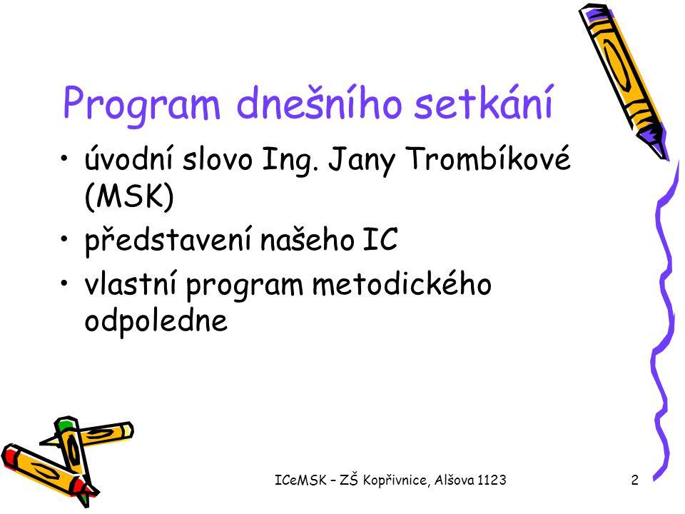 ICeMSK – ZŠ Kopřivnice, Alšova 112323 Třeťáci a čtvrťáci •programování v režimu Začátečník •složitější tvorba vlastních předmětů •vkládání scén do programu •animace •zapojují se do drobných soutěží
