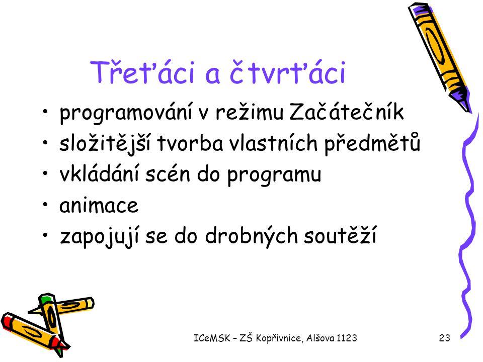 ICeMSK – ZŠ Kopřivnice, Alšova 112323 Třeťáci a čtvrťáci •programování v režimu Začátečník •složitější tvorba vlastních předmětů •vkládání scén do pro