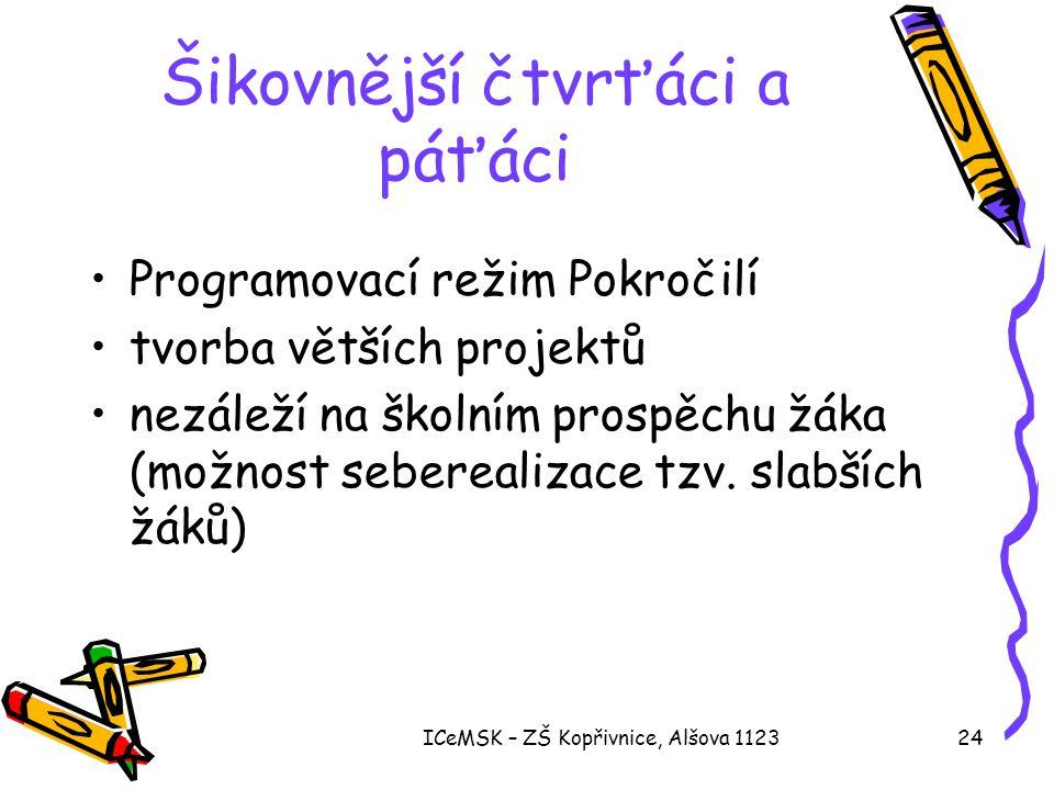 ICeMSK – ZŠ Kopřivnice, Alšova 112324 Šikovnější čtvrťáci a páťáci •Programovací režim Pokročilí •tvorba větších projektů •nezáleží na školním prospěc