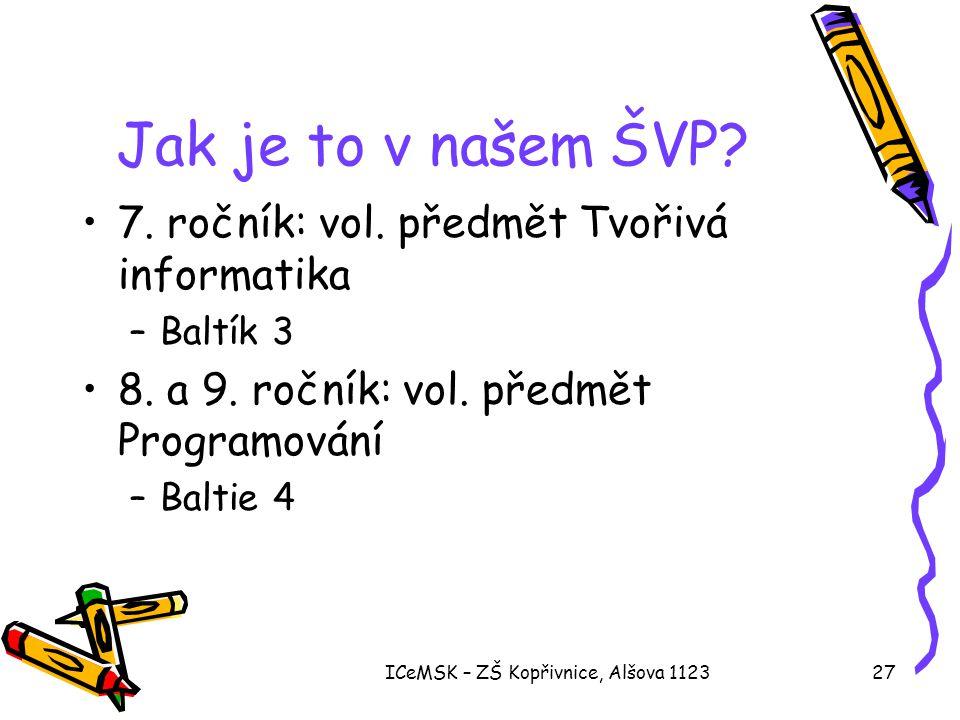 ICeMSK – ZŠ Kopřivnice, Alšova 112327 Jak je to v našem ŠVP? •7. ročník: vol. předmět Tvořivá informatika –Baltík 3 •8. a 9. ročník: vol. předmět Prog