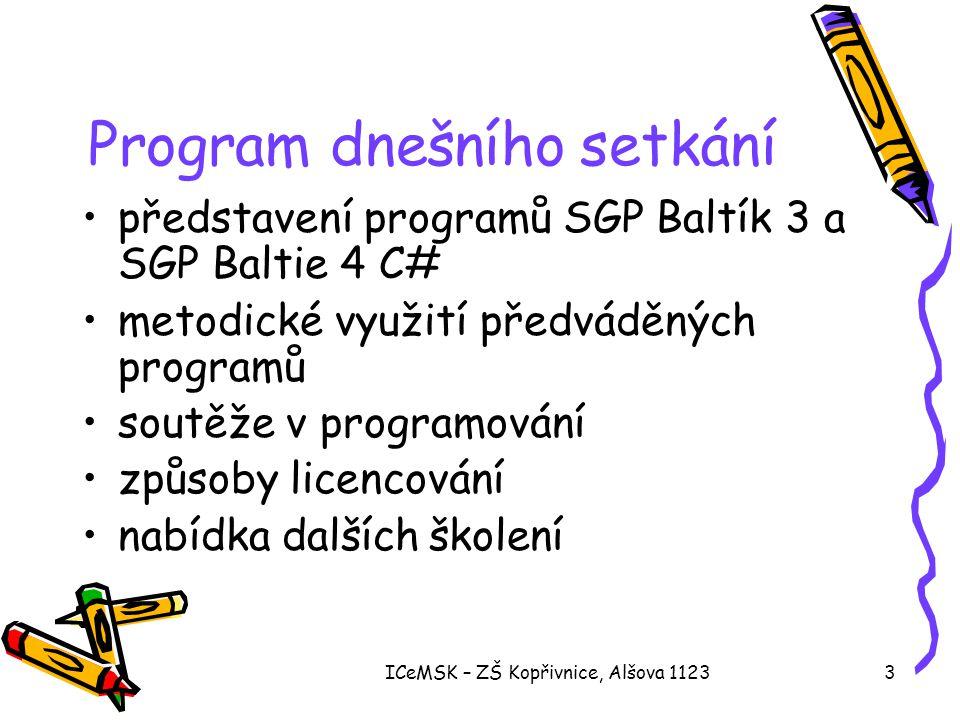 ICeMSK – ZŠ Kopřivnice, Alšova 11233 Program dnešního setkání •představení programů SGP Baltík 3 a SGP Baltie 4 C# •metodické využití předváděných programů •soutěže v programování •způsoby licencování •nabídka dalších školení