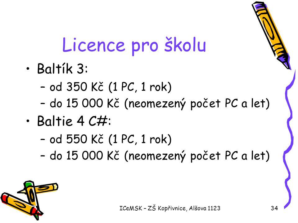 ICeMSK – ZŠ Kopřivnice, Alšova 112334 Licence pro školu •Baltík 3: –od 350 Kč (1 PC, 1 rok) –do 15 000 Kč (neomezený počet PC a let) •Baltie 4 C#: –od 550 Kč (1 PC, 1 rok) –do 15 000 Kč (neomezený počet PC a let)