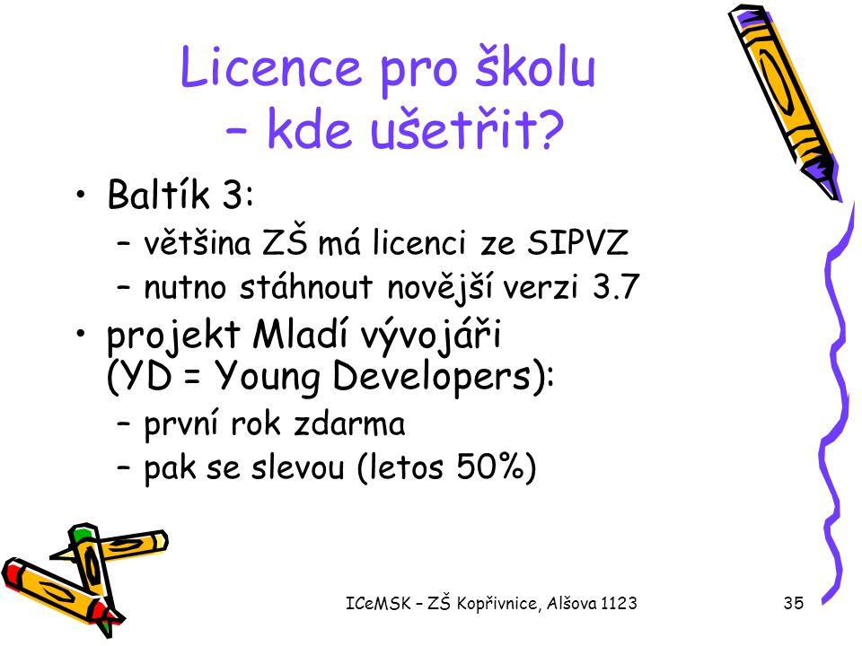 ICeMSK – ZŠ Kopřivnice, Alšova 112335 Licence pro školu – kde ušetřit? •Baltík 3: –většina ZŠ má licenci ze SIPVZ –nutno stáhnout novější verzi 3.7 •p