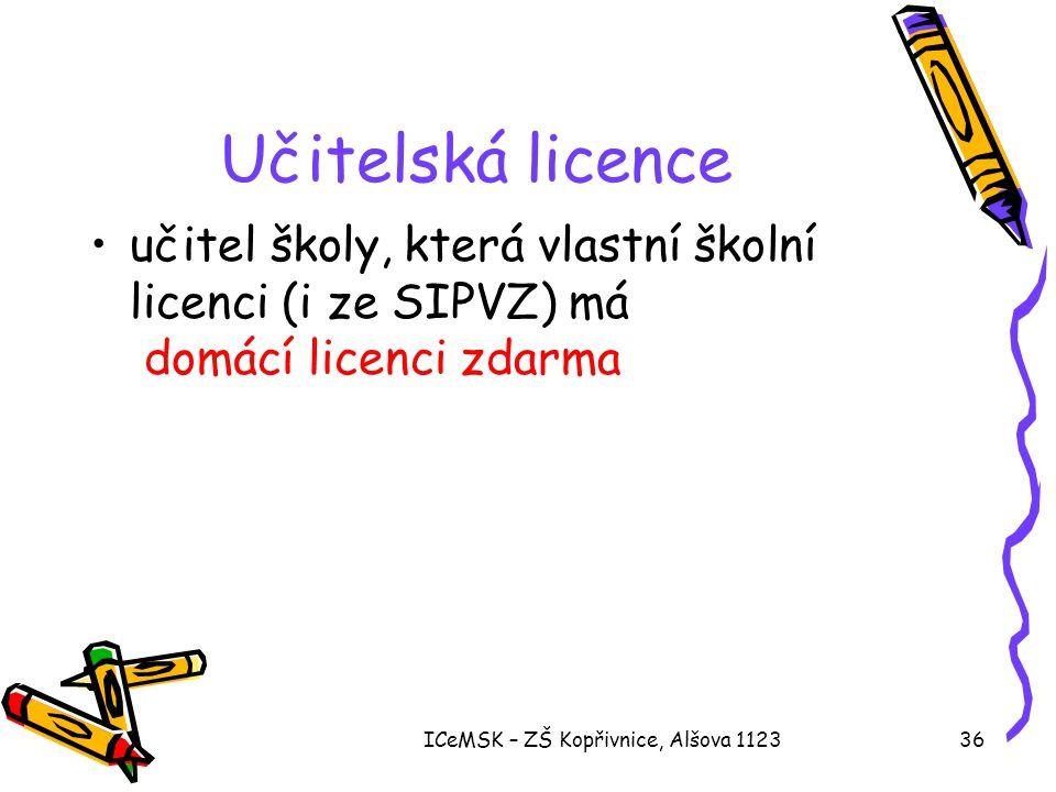 ICeMSK – ZŠ Kopřivnice, Alšova 112336 Učitelská licence •učitel školy, která vlastní školní licenci (i ze SIPVZ) má domácí licenci zdarma