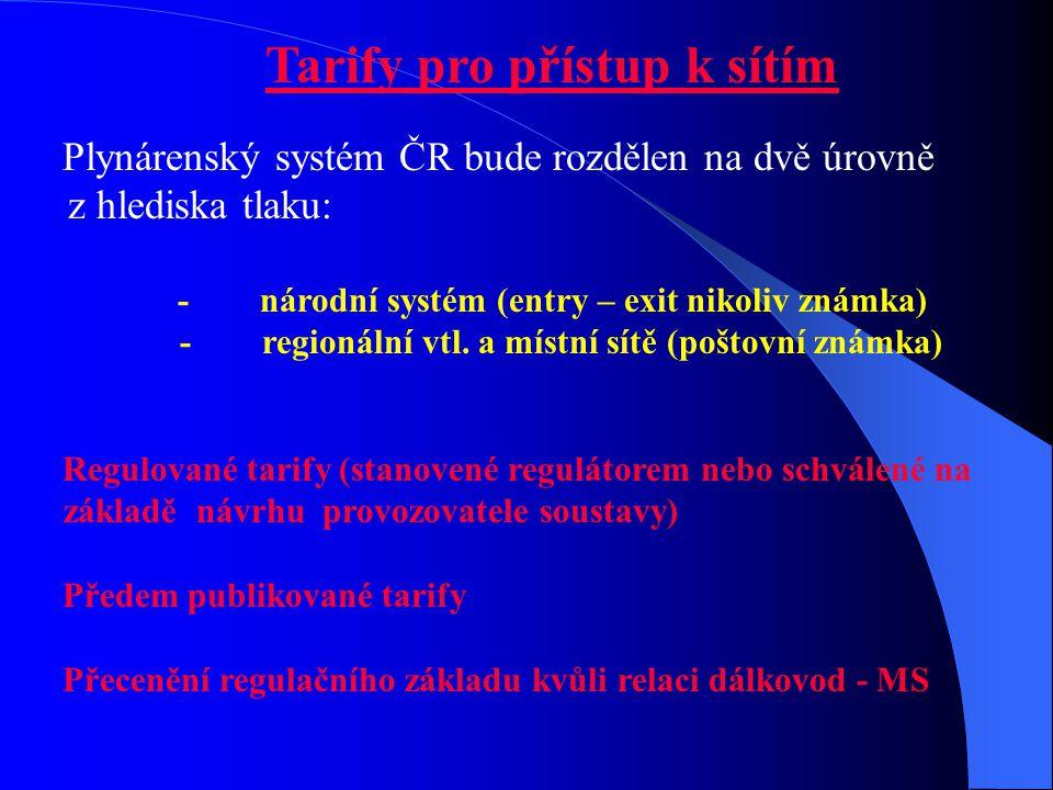 Tarify pro přístup k sítím Plynárenský systém ČR bude rozdělen na dvě úrovně z hlediska tlaku: - národní systém (entry – exit nikoliv známka) - region