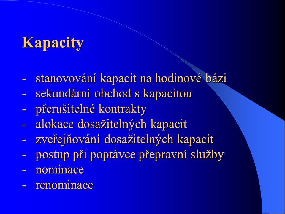 Kapacity - stanovování kapacit na hodinové bázi - sekundární obchod s kapacitou - přerušitelné kontrakty - alokace dosažitelných kapacit - zveřejňován