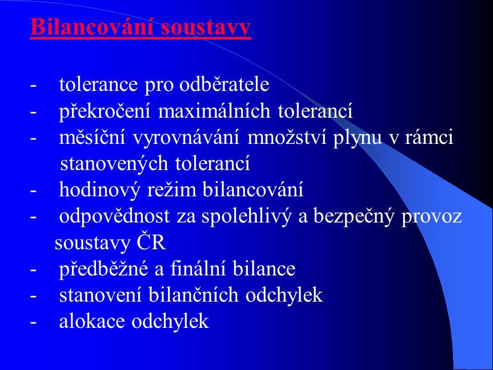 Bilancování soustavy - tolerance pro odběratele - překročení maximálních tolerancí - měsíční vyrovnávání množství plynu v rámci stanovených tolerancí