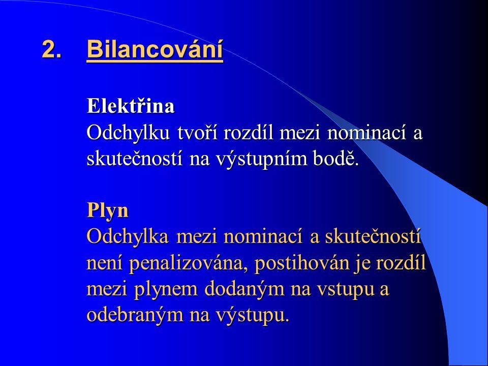 2.Bilancování Elektřina Odchylku tvoří rozdíl mezi nominací a skutečností na výstupním bodě. Plyn Odchylka mezi nominací a skutečností není penalizová