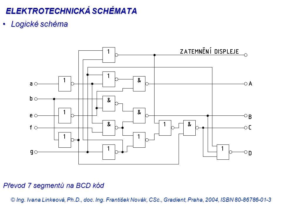 © Ing. Ivana Linkeová, Ph.D., doc. Ing. František Novák, CSc., Gradient, Praha, 2004, ISBN 80-86786-01-3 •Logické schéma Převod 7 segmentů na BCD kód