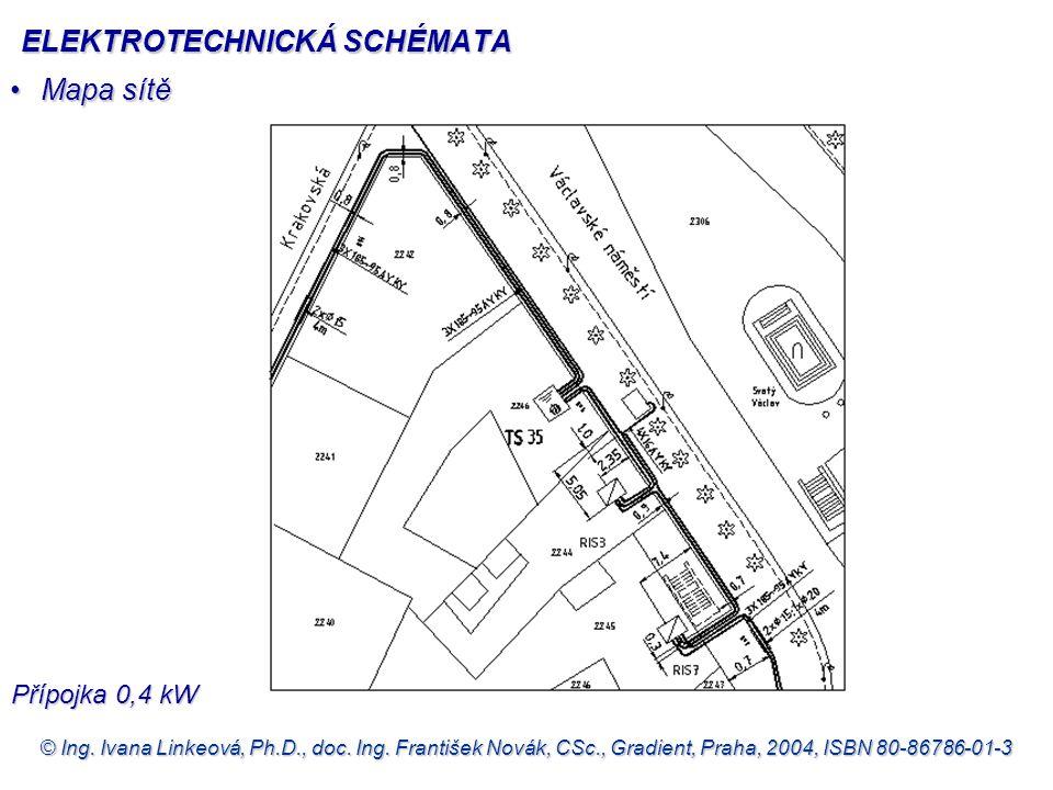 © Ing. Ivana Linkeová, Ph.D., doc. Ing. František Novák, CSc., Gradient, Praha, 2004, ISBN 80-86786-01-3 •Mapa sítě Přípojka 0,4 kW ELEKTROTECHNICKÁ S