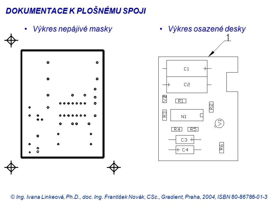 © Ing. Ivana Linkeová, Ph.D., doc. Ing. František Novák, CSc., Gradient, Praha, 2004, ISBN 80-86786-01-3 •Výkres nepájivé masky •Výkres osazené desky