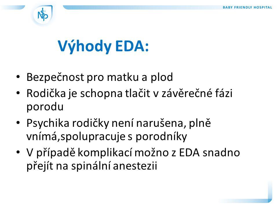 Výhody EDA: • Bezpečnost pro matku a plod • Rodička je schopna tlačit v závěrečné fázi porodu • Psychika rodičky není narušena, plně vnímá,spolupracuj