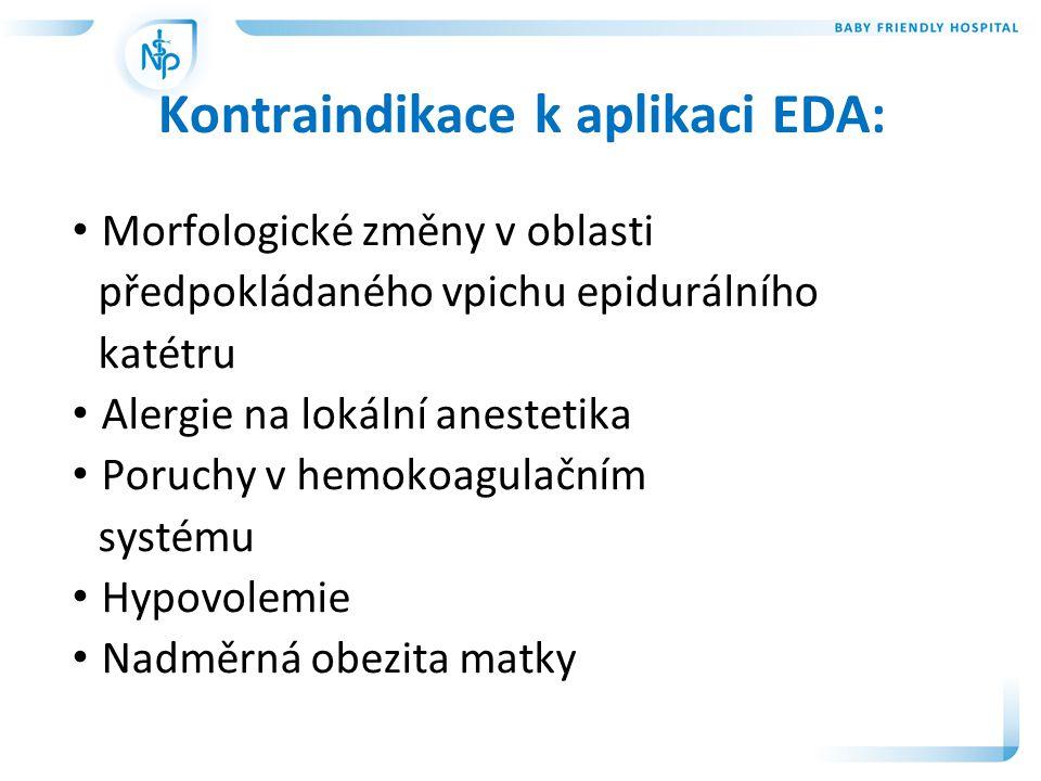 • V anamnéze rodičky nejsou kontraindikace k EDA • Pravidelné kontrakce • Vaginální nález na porodní brance je u prvorodičky 4 cm, u více rodičky 3 cm • Velmi vhodná je aplikace u rodičky s cervikokorporální dystonii Kdy aplikujeme EDA: