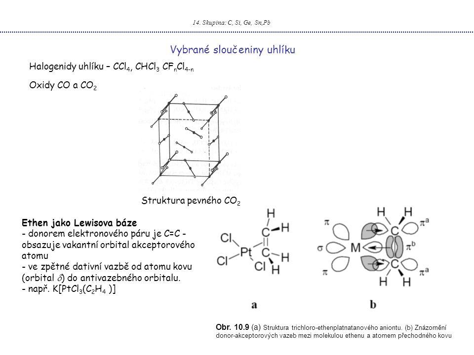 14. Skupina: C, Si, Ge, Sn,Pb Vybrané sloučeniny uhlíku Oxidy CO a CO 2 Ethen jako Lewisova báze - donorem elektronového páru je C=C - obsazuje vakant