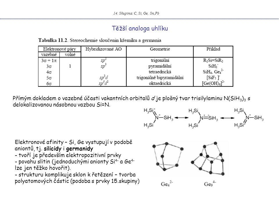 14. Skupina: C, Si, Ge, Sn,Pb Těžší analoga uhlíku Přímým dokladem o vazebné účasti vakantních orbitalů d je plošný tvar trisilylaminu N(SiH 3 ) 3 s d