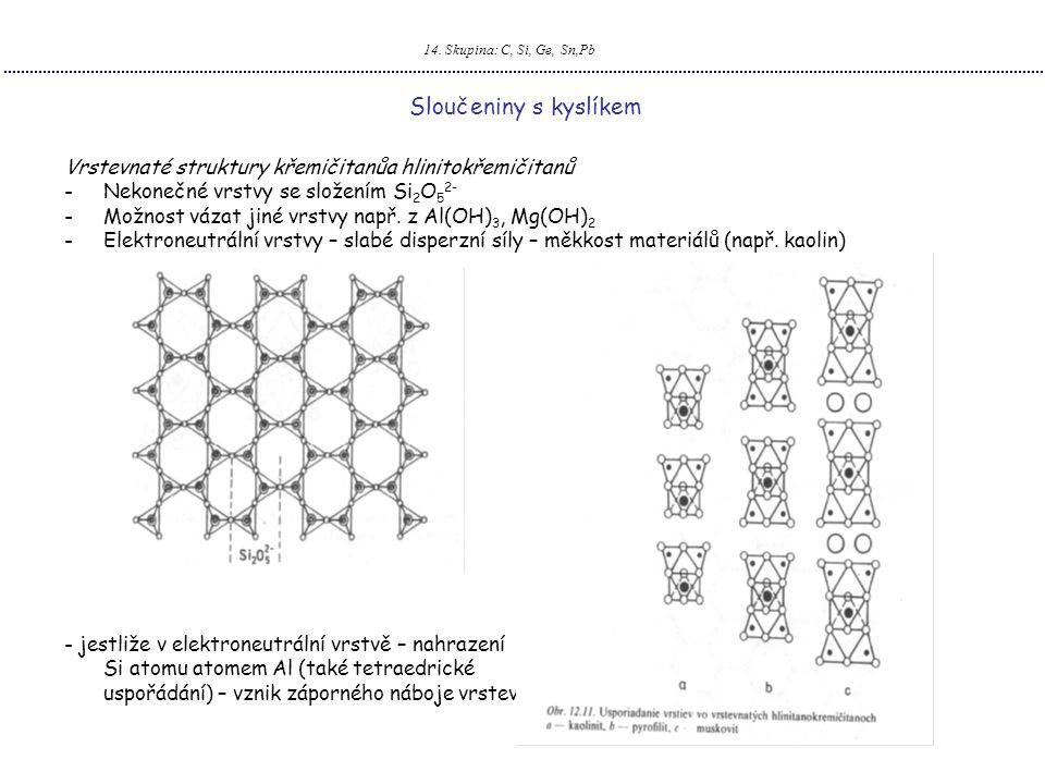 14. Skupina: C, Si, Ge, Sn,Pb Sloučeniny s kyslíkem Vrstevnaté struktury křemičitanůa hlinitokřemičitanů -Nekonečné vrstvy se složením Si 2 O 5 2- -Mo