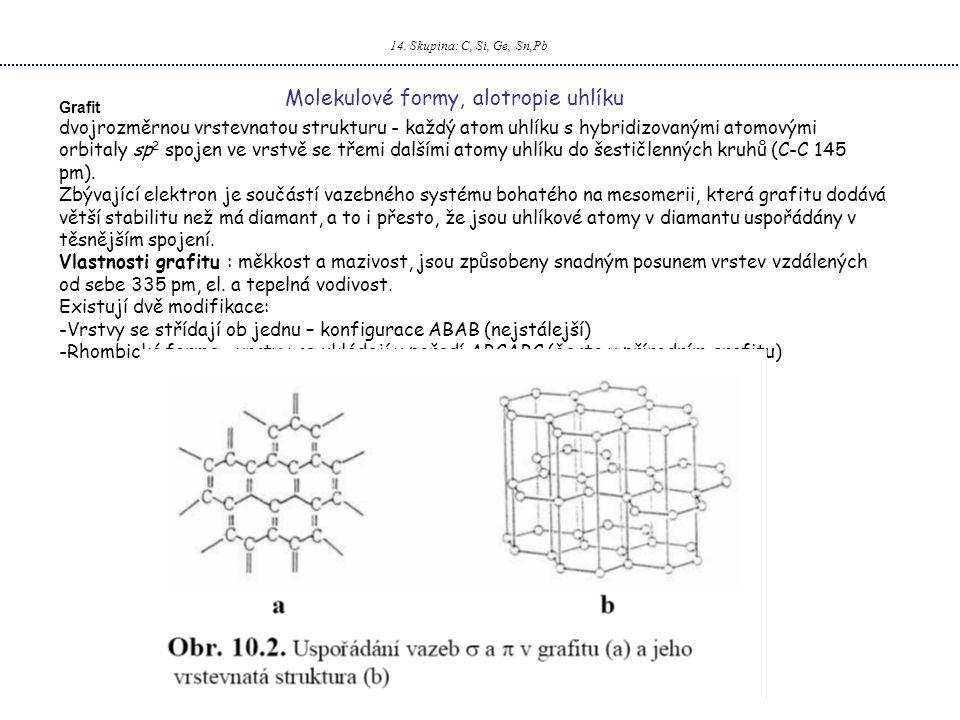 14. Skupina: C, Si, Ge, Sn,Pb Molekulové formy, alotropie uhlíku Grafit dvojrozměrnou vrstevnatou strukturu - každý atom uhlíku s hybridizovanými atom