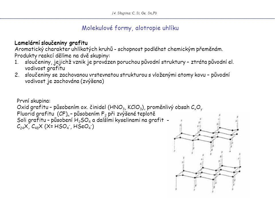 14. Skupina: C, Si, Ge, Sn,Pb Molekulové formy, alotropie uhlíku Lamelární sloučeniny grafitu Aromatický charakter uhlíkatých kruhů - schopnost podléh