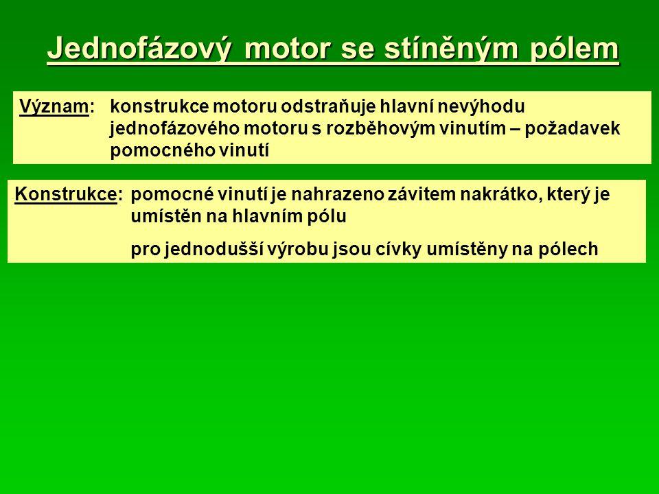 Jednofázový motor se stíněným pólem Význam: konstrukce motoru odstraňuje hlavní nevýhodu jednofázového motoru s rozběhovým vinutím – požadavek pomocné