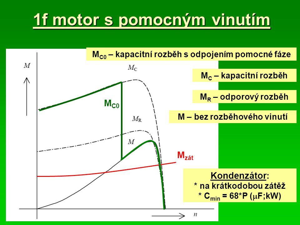1f motor s pomocným vinutím M R – odporový rozběh M – bez rozběhového vinutí M C – kapacitní rozběh M zát M C0 – kapacitní rozběh s odpojením pomocné