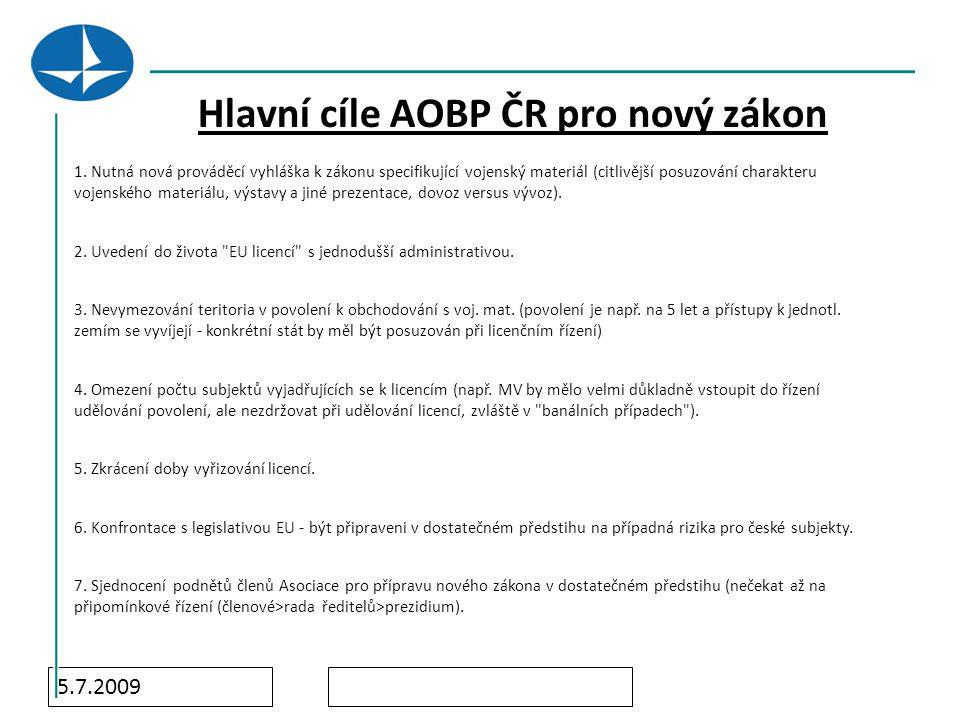 5.7.2009 Hlavní cíle AOBP ČR pro nový zákon 1.