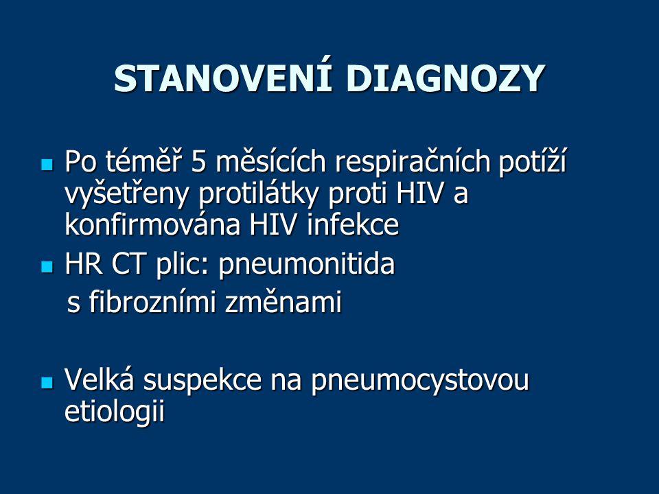 STANOVENÍ DIAGNOZY  Po téměř 5 měsících respiračních potíží vyšetřeny protilátky proti HIV a konfirmována HIV infekce  HR CT plic: pneumonitida s fi