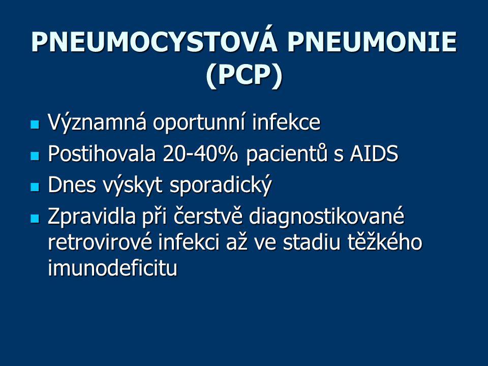 PNEUMOCYSTOVÁ PNEUMONIE (PCP)  Významná oportunní infekce  Postihovala 20-40% pacientů s AIDS  Dnes výskyt sporadický  Zpravidla při čerstvě diagnostikované retrovirové infekci až ve stadiu těžkého imunodeficitu