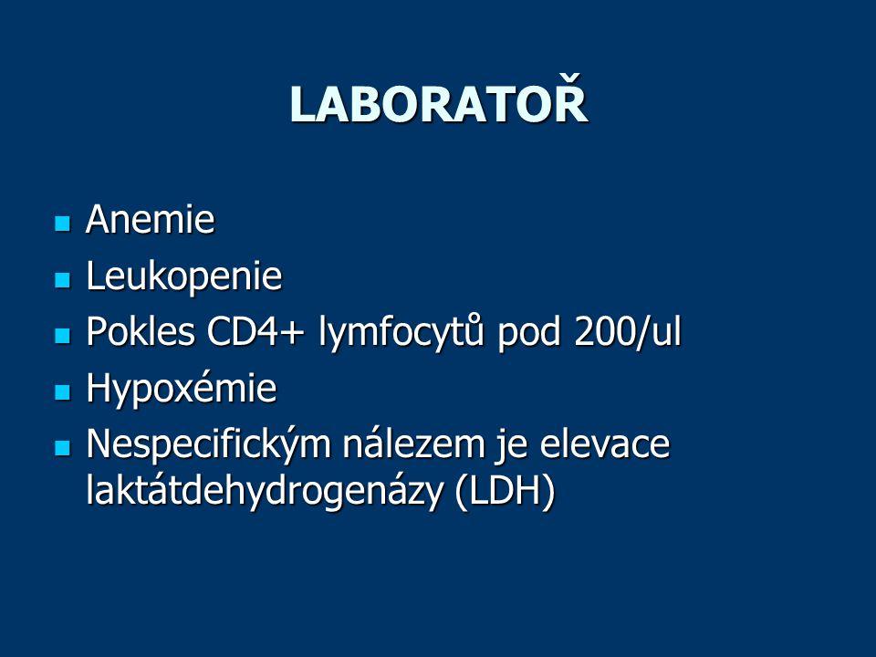 LABORATOŘ  Anemie  Leukopenie  Pokles CD4+ lymfocytů pod 200/ul  Hypoxémie  Nespecifickým nálezem je elevace laktátdehydrogenázy (LDH)