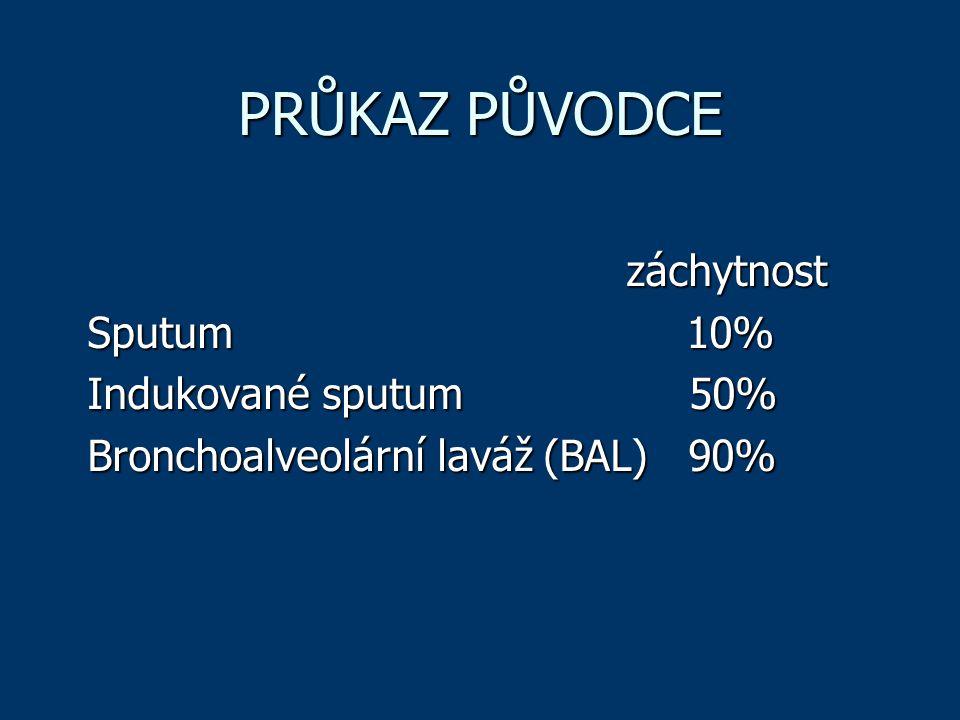 PRŮKAZ PŮVODCE záchytnost záchytnost Sputum 10% Indukované sputum 50% Bronchoalveolární laváž (BAL) 90%