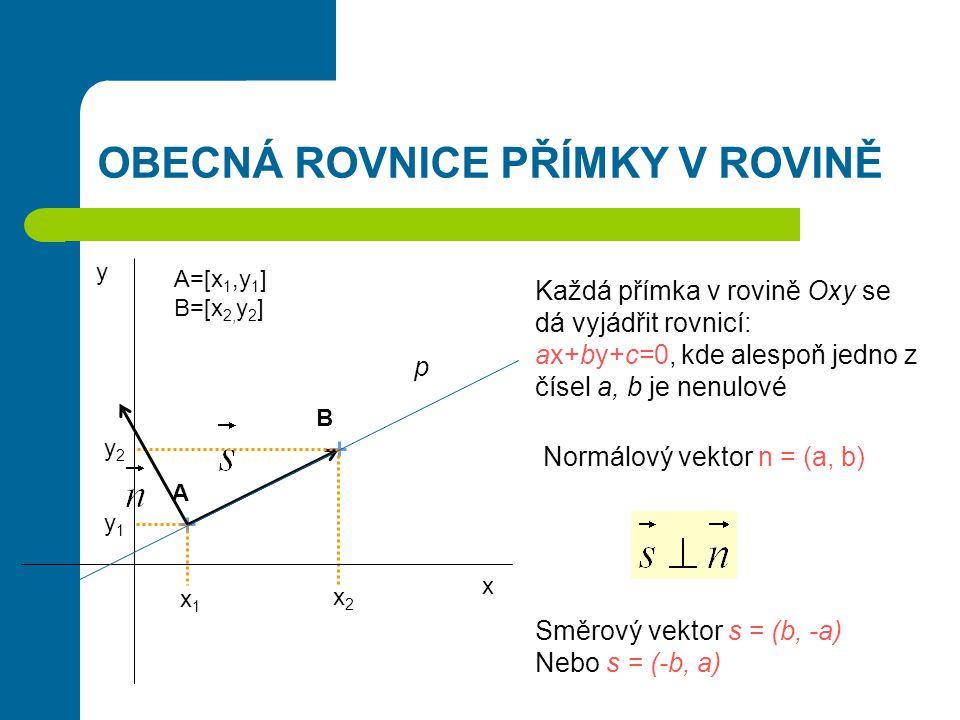 OBECNÁ ROVNICE PŘÍMKY V ROVINĚ A B x1x1 x2x2 y1y1 y2y2 A=[x 1,y 1 ] B=[x 2, y 2 ] x y Každá přímka v rovině Oxy se dá vyjádřit rovnicí: ax+by+c=0, kde
