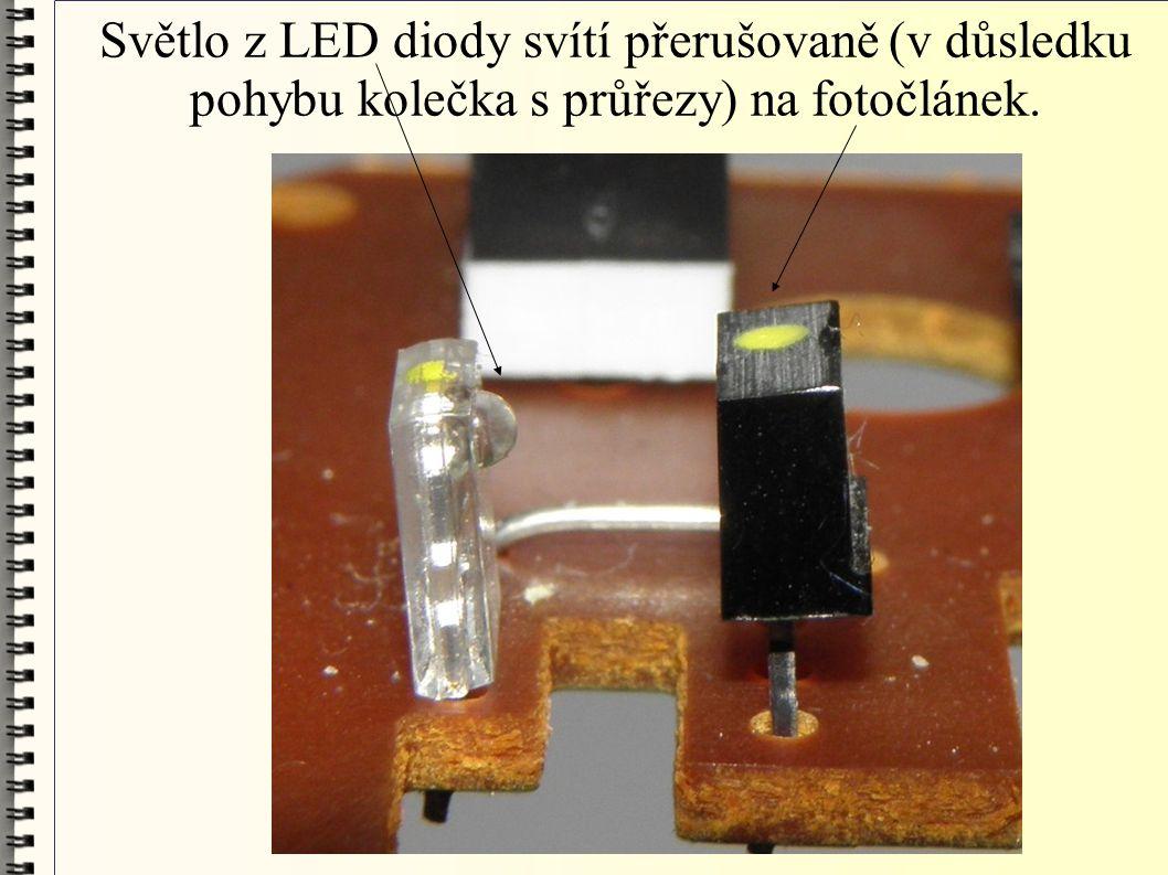 Světlo z LED diody svítí přerušovaně (v důsledku pohybu kolečka s průřezy) na fotočlánek.