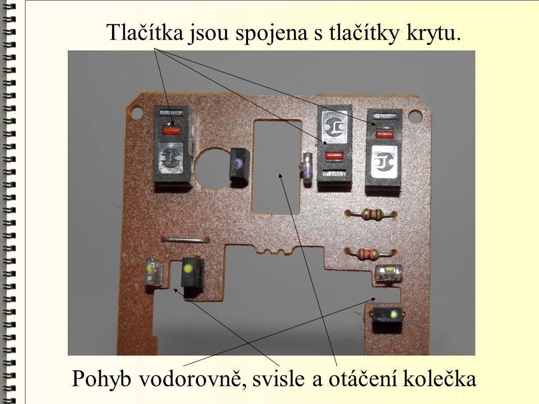 Tlačítka jsou spojena s tlačítky krytu. Pohyb vodorovně, svisle a otáčení kolečka