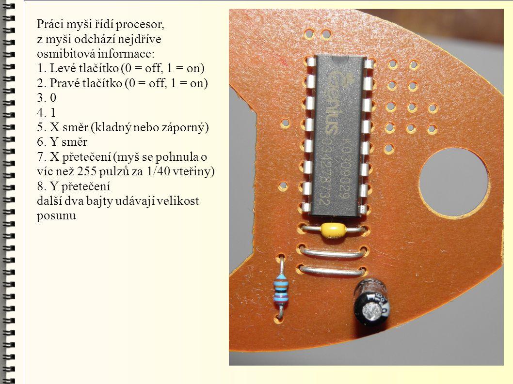 Práci myši řídí procesor, z myši odchází nejdříve osmibitová informace: 1. Levé tlačítko (0 = off, 1 = on) 2. Pravé tlačítko (0 = off, 1 = on) 3. 0 4.