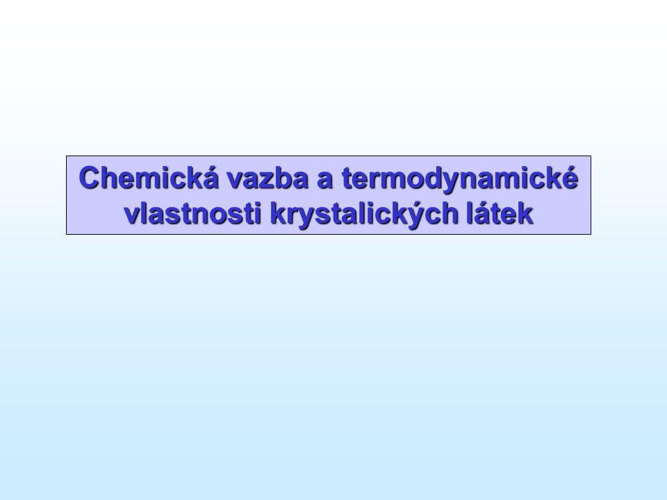 Termodynamická data materiálů • Tepelná kapacita – C p (T), T = 298 K … T t - DSC, relativní entalpie (vhazovací kalorimetrie) - odhady (Neumann-Kopp), semiempirické aproximace (D-E - ab-initio výpočet v rámci harmonické aproximace • Slučovací entalpie –  f H° 298 K - kalorimetrie (rozpouštěcí, fázové transformace) - vysokoteplotní rovnovážná data (2.