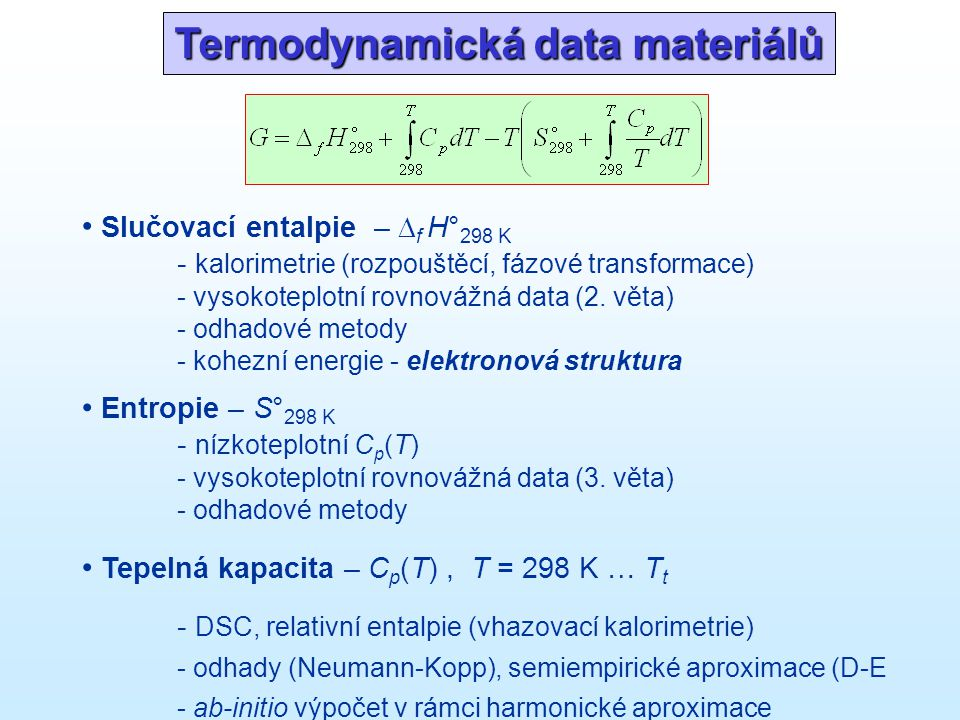 Slučovací entalpie  f H° = H° AB – H° A – H° B H = E + PV E = E c + E vib + E el kohezní energie (chemická vazba) celková energie ref.stav: volné e - + volná jádra izolované atomy v základním stavu prvky ve stabilní modifikaci E c = E tot (AB) – E tot (A) – E tot (B) prvky ve stabilní modifikaci