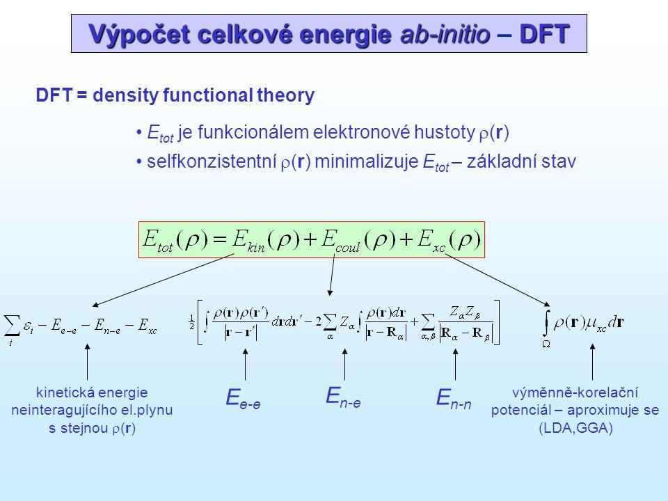 Výpočet celkové energie ab-initio DFT Výpočet celkové energie ab-initio – DFT DFT = density functional theory • E tot je funkcionálem elektronové hust