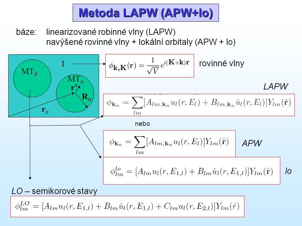 Metoda LAPW (APW+lo) báze: linearizované robinné vlny (LAPW) navýšené rovinné vlny + lokální orbitaly (APW + lo) I MT  MT  rr RR r'r' rovinné vl