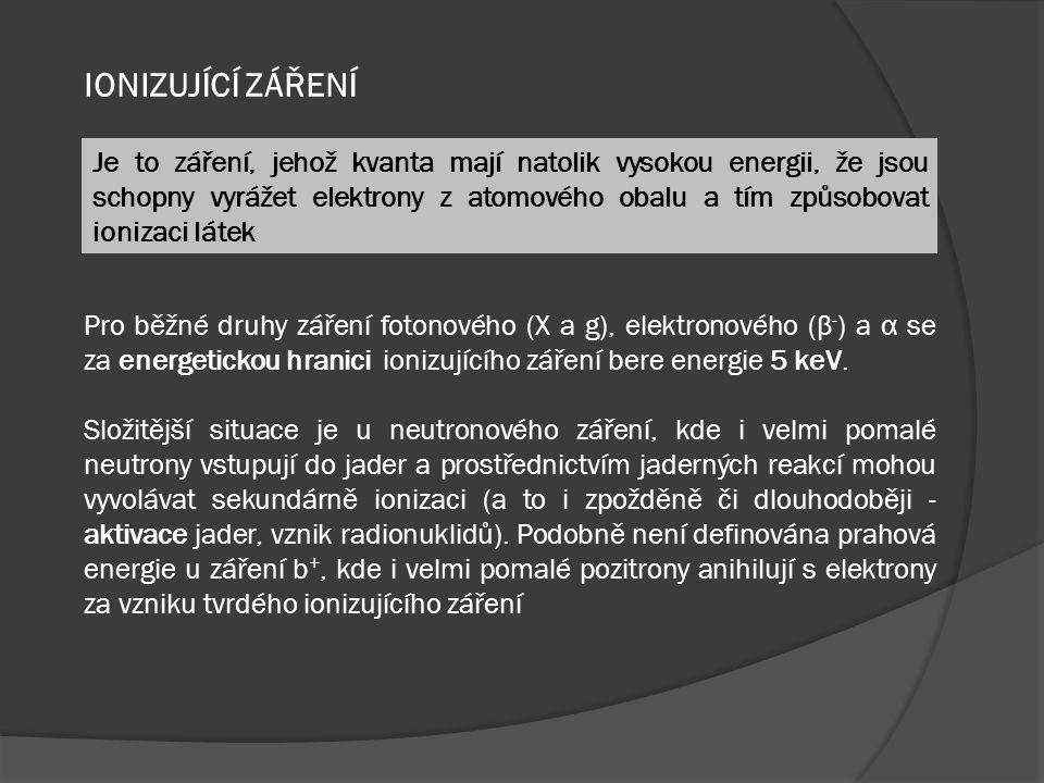 EKVIVALENTNÍ DÁVKA H T  bere v úvahu účinek konkrétního záření na tkáň – použitím radiačního váhového faktoru w R (o hodnotách od 1 do 20 podle tabulky )  D TR je absorbovaná dávka v orgánu nebo tkáni v Gy  jednotkovu je Sievert [ Sv ] – rozměr shodný s Gy  Stará jednotka je rem = 0.01 Sv
