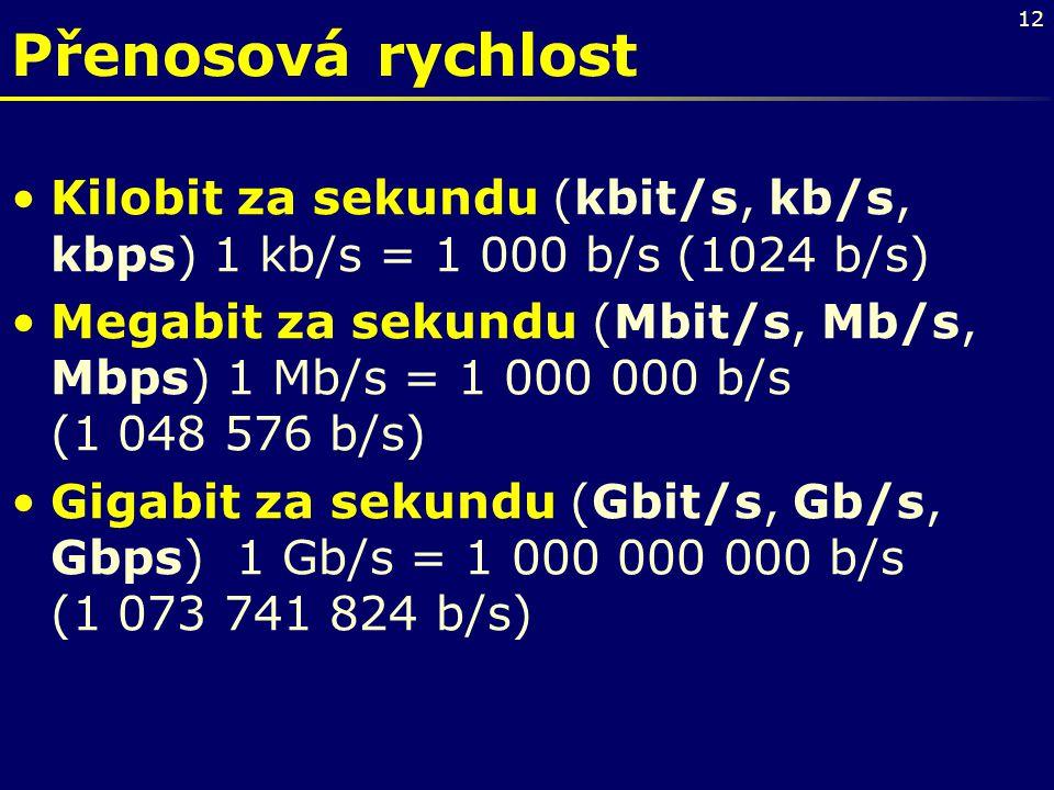 13 •Kibibit za sekundu (Kibit/s, Kib/s Kibps) – nová jednotka přenosové rychlosti, –1 Kib/s = 1 024 b/s.