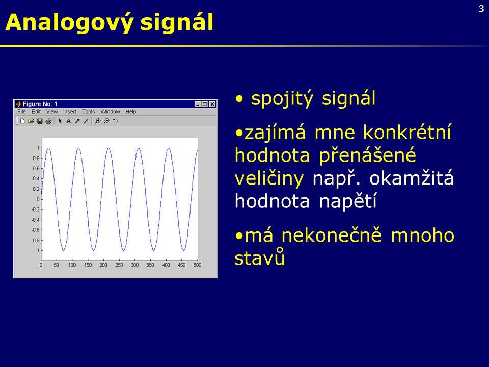 4 Digitální signál •Je tvořen posloupností vzorků, které mohou nabývat pouze omezeného počtu hodnot.