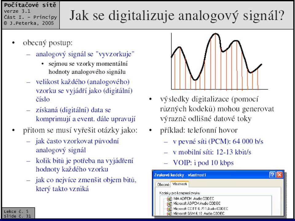 9 Výhody digitálního přenosu •může být ideální - kvalita dat se při přenosu nemění, např.
